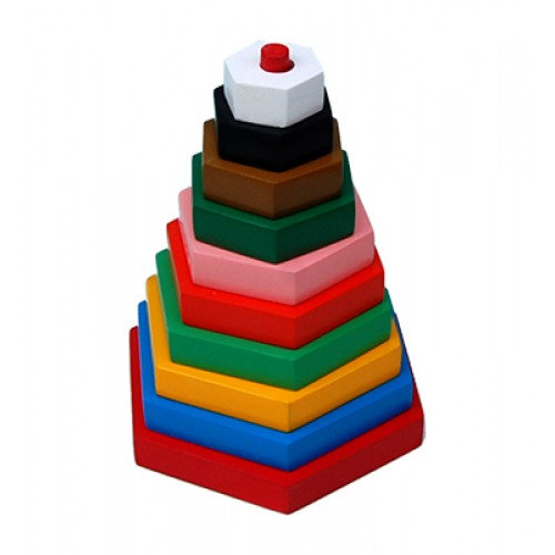 Build-A-Tower-Hexagon (Big-10 Pieces)