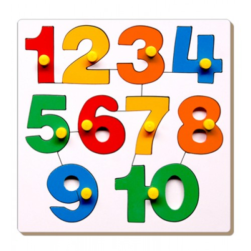Number Inset Tray Puzzle-1 To 10 With Kn...
