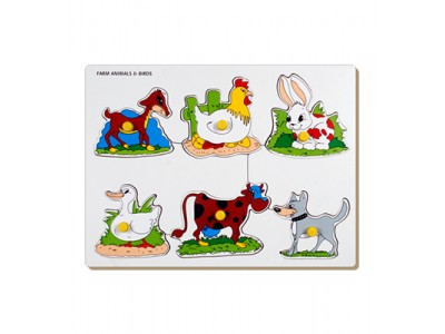 Farm Animals & Birds Tray With Knob